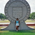 Standing in front of the cement sign on the Texas Tech campus in Lubbock, Texas.